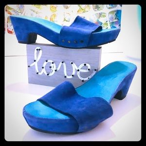 Electric Blue Suede Slides in Great Condition